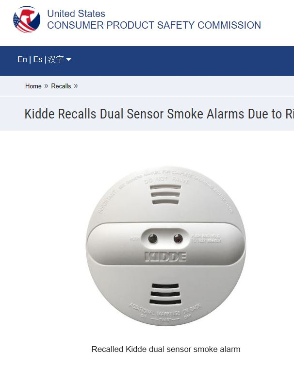 Kidde recalls ~450K smoke alarms