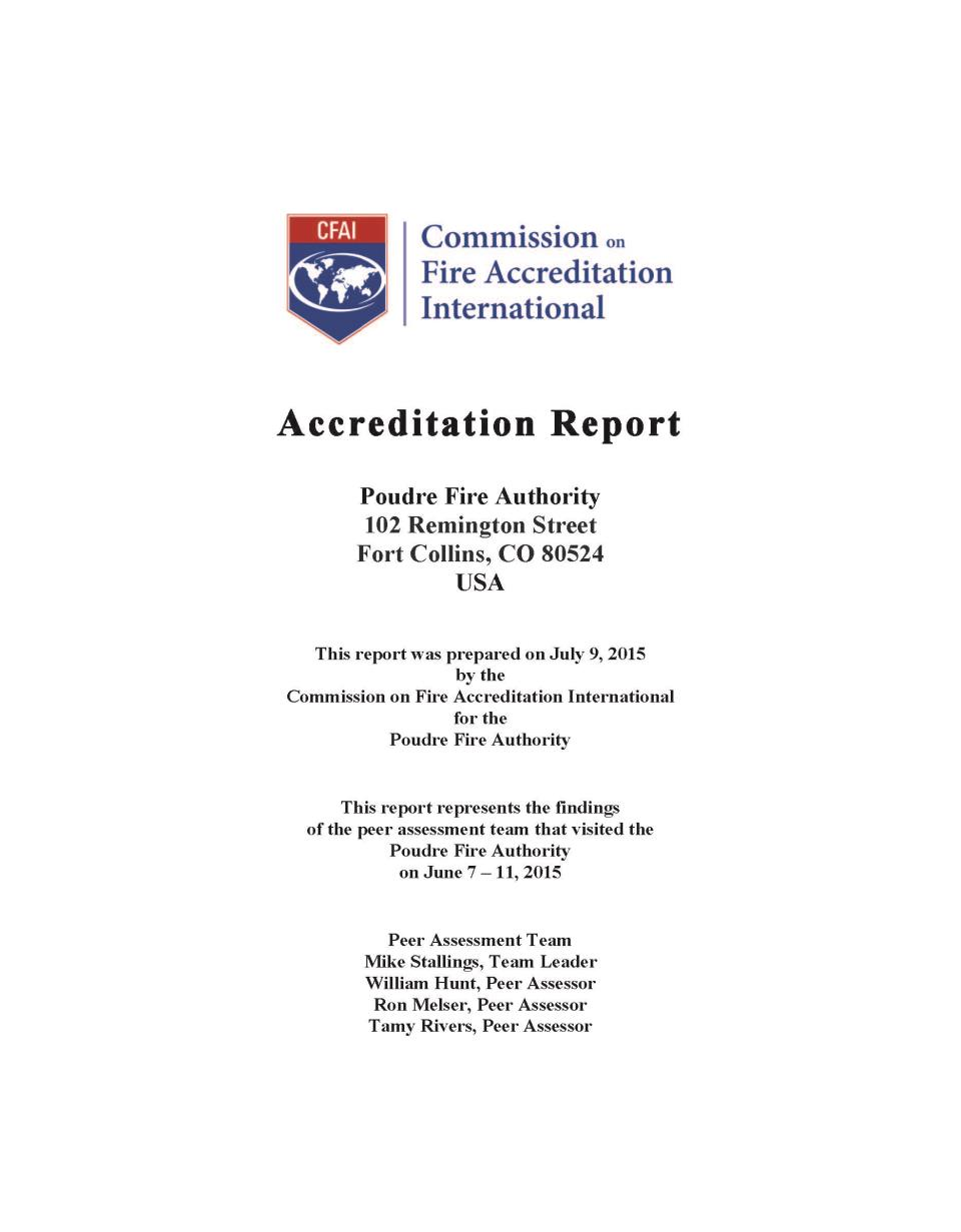 Poudre Fire Authority CO Accreditation Report Cover