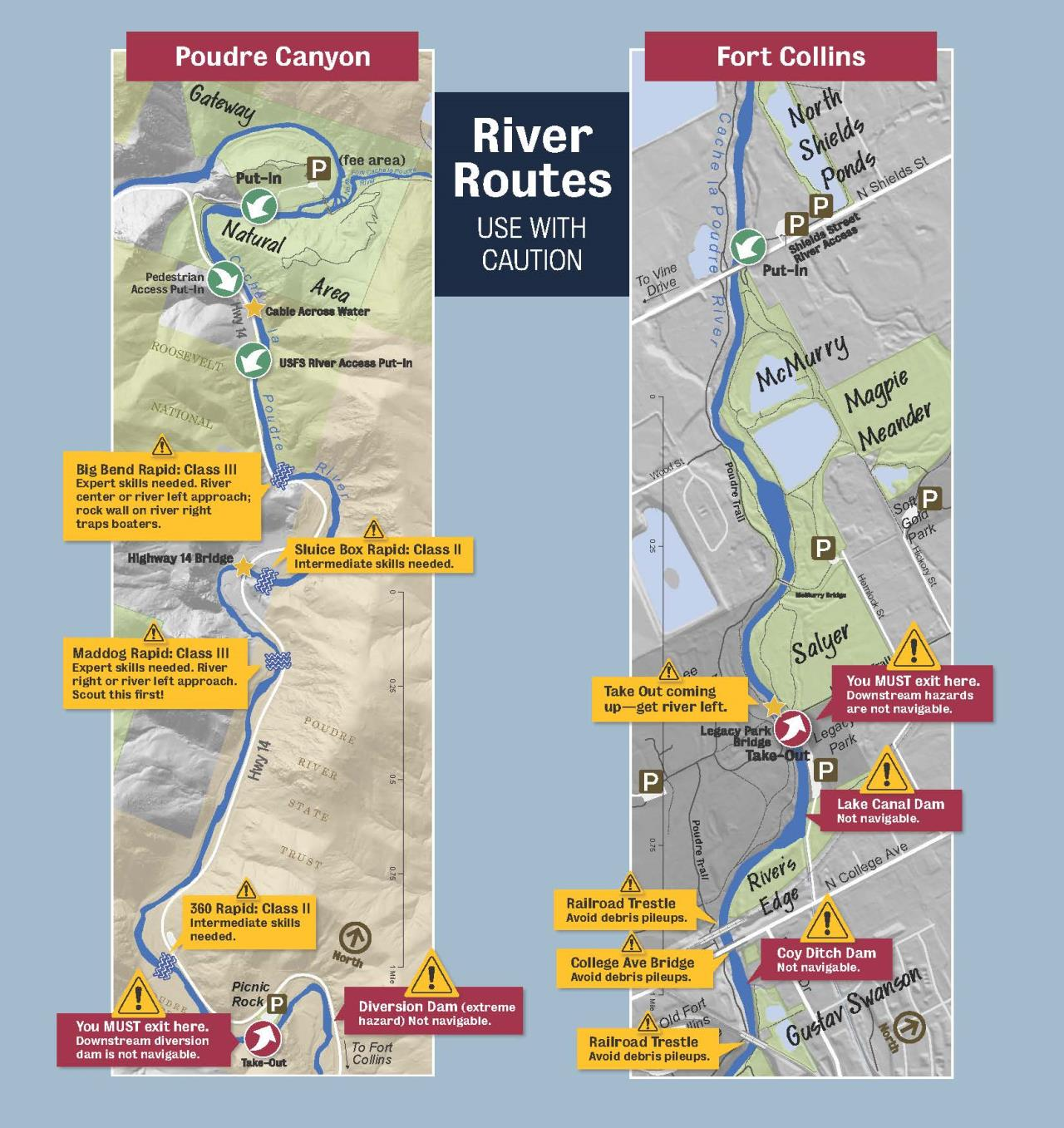 Poudre River River Safety Brochure- Map